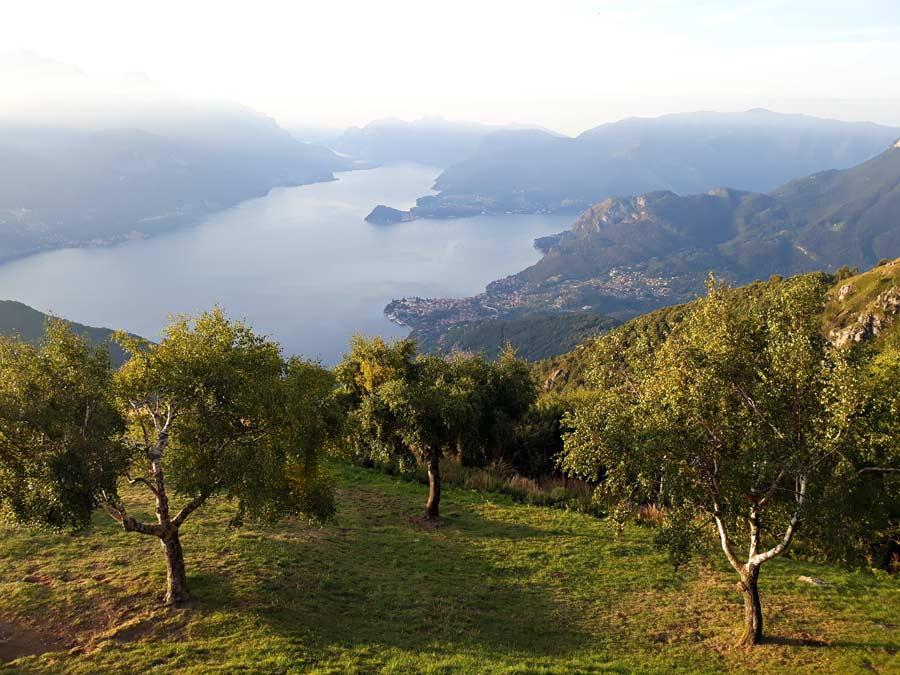 La vista sul lago di Como salendo verso il monte Grona